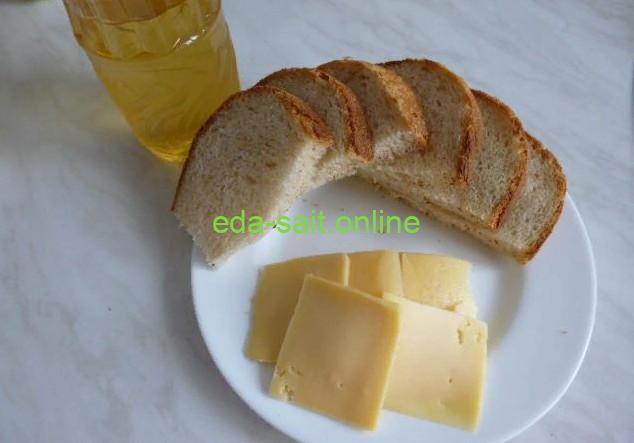 Бутерброды с сыром на сковороде набор продуктов