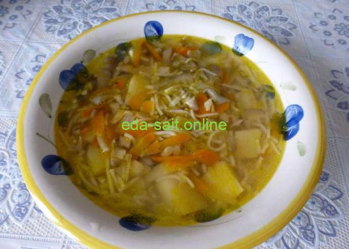 Грибной суп с вермишелью фото