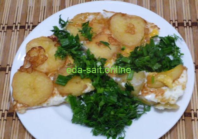 Яичница с картошкой фото