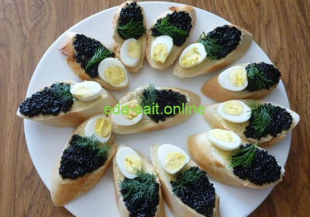 Бутерброды с черной икрой фото