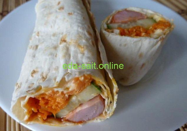 Шаурма с корейской морковью фото