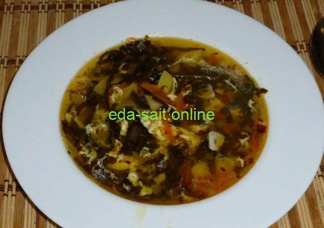 Суп с морской капустой фото