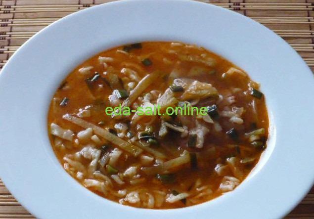 Суп с редькой и домашней лапшой