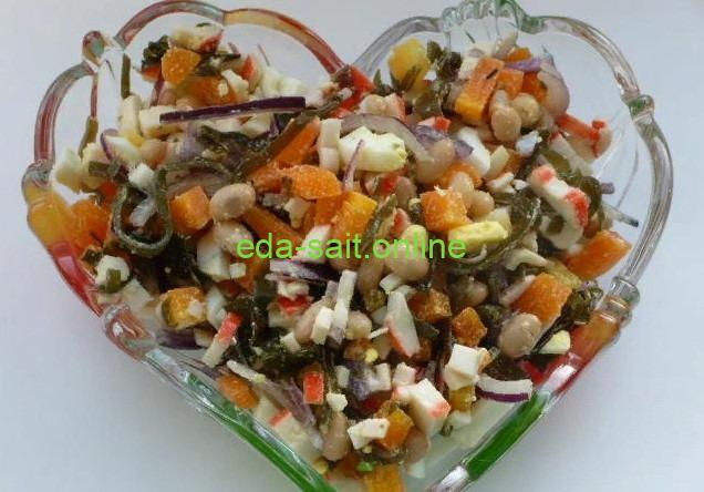Салат с морской капустой и фасолью фото