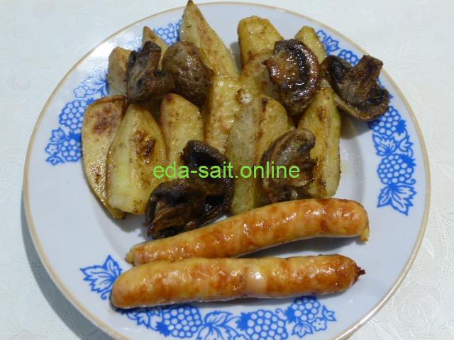 Картошка с грибами запеченная в духовке фото