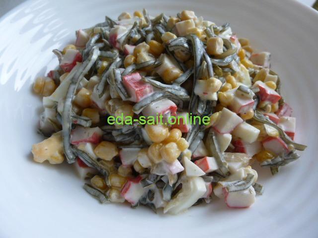Салат с морской капустой и кукурузой пошаговый рецепт с фото