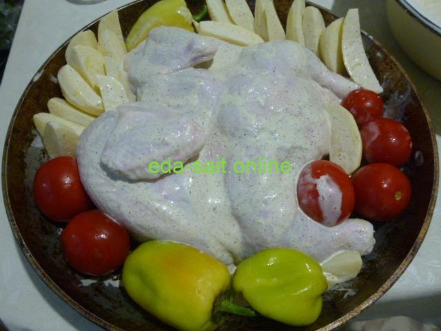 Как запечь курицу с картошкой и овощами