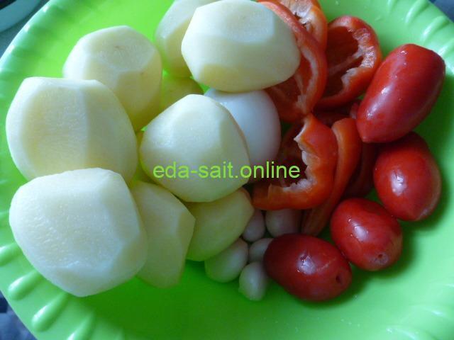 Овощи для свиных стейков